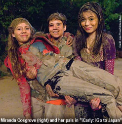 Miranda Cosgrove (right) and her pals in iCarly: iGo to Japan