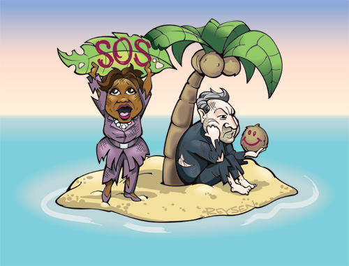 Illustration by Nate Reysen, Oprah and Al Gore stranded on an island
