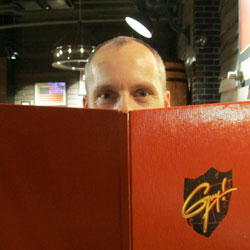Our Art Director Tom at Guy Fieri's Times Square Restaurant