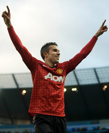 Manchester United striker Robin van Persie celebrates