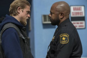 Charlie Hunnam and Rockmond Dunbar in 'Sons of Anarchy""