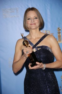 Jodie Foster holds her Cecil B. DeMille Award at the Golden Globes