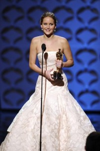 "Jennifer Lawrence wins Best Actress at the 85h Academy Awards for ""Silver Linings Playbook"""