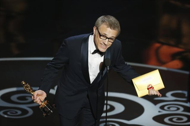Christoph Waltz accepting his Best Supporting Actor Oscar at the 85th Academy Awards