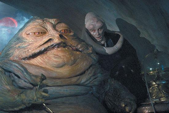 "Jabba the Hut and Bib Fortuna in ""Return of the Jedi"""
