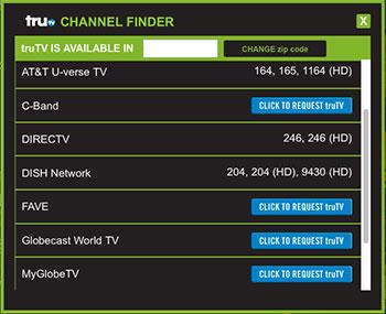 truTV Channel Finder
