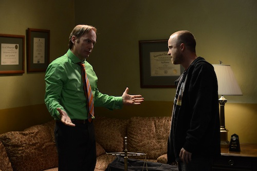 Bob Odenkirk and Aaron Paul in Season 5 of AMC's Breaking Bad