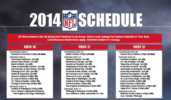 NFL schedule 2014 printable version