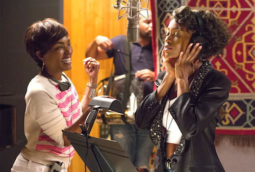 Angela Bassett directs Yaya DaCosta on the set of Lifetime's Whitney.