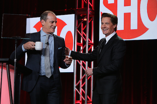Showtime president David Nevins greets Twin Peaks star Kyle MacLachlan, who will reprise his role in 2016