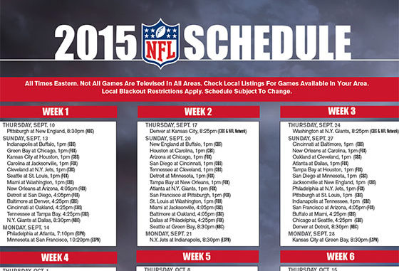 picture relating to Nfl Week 13 Printable Schedule named Free of charge printable 2015 NFL Tv set Routine