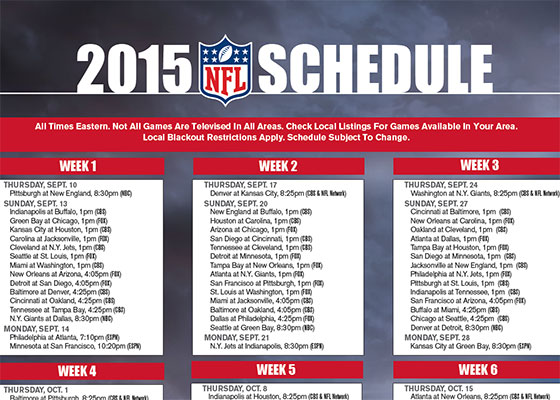 image relating to Printable Nfl Week 2 Schedule known as No cost printable 2015 NFL Tv set Routine