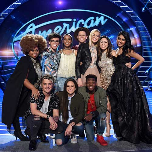 Top 10 contestants (Top row L-R:) La'Porsha Renae, MacKenzie Bourg, Tristan McIntosh, Trent Harmon, Olivia Rox, Gianna Isabella, Sonika Vaid, (L-R Front Row) Dalton Rapattoni, Avalon Young and Lee Jean. Ray Mickshaw/ FOX.
