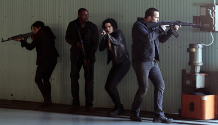 """BLINDSPOT -- """"Cease Forcing Enemy"""" Episode 111 -- Pictured: (l-r) Audrey Esparza as Zapata, Rob Brown as Reade, Jaimie Alexander as Jane Doe, Sullivan Stapleton as Kurt Weller -- (Photo by: Giovanni Rufino/NBC)"""