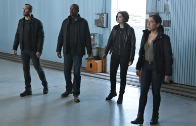 """BLINDSPOT -- """"Cease Forcing Enemy"""" Episode 111 -- Pictured: (l-r) Sullivan Stapleton as Kurt Weller, Rob Brown as Reade, Jaimie Alexander as Jane Doe, Audrey Esparza as Zapata -- (Photo by: Giovanni Rufino/NBC)"""