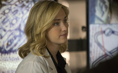 """BLINDSPOT -- """"Scientists Hollow Fortune"""" Episode 112 -- Pictured: Pictured: Ashley Johnson as Patterson -- (Photo by: {Paul Sarkis/NBC)"""