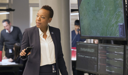 """BLINDSPOT -- """"Scientists Hollow Fortune"""" Episode 112 -- Pictured: Marianne Jean-Baptiste as Mayfair -- (Photo by: {Paul Sarkis/NBC)"""