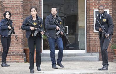"BLINDSPOT -- ""Scientists Hollow Fortune"" Episode 112 -- Pictured: (l-r) Jaimie Alexander as Jane Doe, Audrey Esparza as Zapata, Sullivan Stapleton as Kurt Weller, Rob Brown as Reade -- (Photo by: {Paul Sarkis/NBC)"