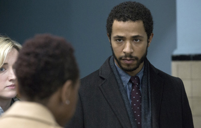 """BLINDSPOT -- """"Scientists Hollow Fortune"""" Episode 112 -- Pictured: (l-r) Ashley Johnson as Patterson, Ukweli Roach as Borden -- (Photo by: {Paul Sarkis/NBC)"""
