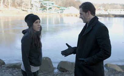 """BLINDSPOT -- """"Rules In Defiance"""" Episode 114 -- Pictured: (l-r) Audrey Esparza as Zapata, Aaron Abrams as Weitz -- (Photo by: Giovanni Rufino/NBC)"""