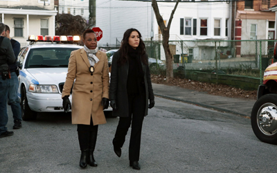 "BLINDSPOT -- ""Rules In Defiance"" Episode 114 -- Pictured: (l-r) Marianne Jean-Baptiste as Mayfair, Audrey Esparza as Zapata -- (Photo by: Giovanni Rufino/NBC)"