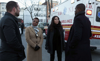 "BLINDSPOT -- ""Rules In Defiance"" Episode 114 -- Pictured: (l-r) Sullivan Stapleton as Kurt Weller, Marianne Jean-Baptiste as Mayfair, Audrey Esparza as Zapata, Rob Brown as Reade -- (Photo by: Giovanni Rufino/NBC)"