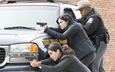 "BLINDSPOT -- ""In The Comet Of Us"" Episode 119 -- Pictured: (l-r) Audrey Esparza as Tasha Zapata, Jaimie Alexander as Jane Doe -- (Photo by: Paul Sarkis/NBC)"