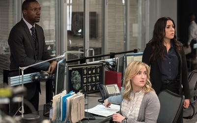 "BLINDSPOT -- ""Why Await Life's End"" Episode 123 -- Pictured: (l-r) Rob Brown as Edgar Reed, Ashley Johnson as Patterson, Audrey Esparza as Tasha Zapata -- (Photo by: Jeff Neumann/NBC)"