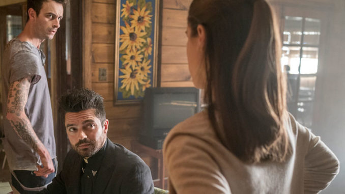 Dominic Cooper as Jesse Custer, Lucy Griffiths as Emily, Joseph Gilgun as Cassidy Preache