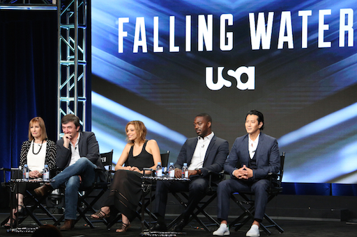 "USA's ""Falling Water"" Panel -- Pictured: (l-r) Gale Anne Hurd, Executive Producer; Blake Masters, Executive Producer; Lizzie Brochere, David Ajala, Will Yun Lee."
