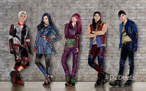 Disney Channel's original movie Descendants 2 stars Cameron Boyce as Carlos, Sofia Carson as Evie, Dove Cameron as Mal, Booboo Stewart as Jay and Mitchell Hope as Ben.